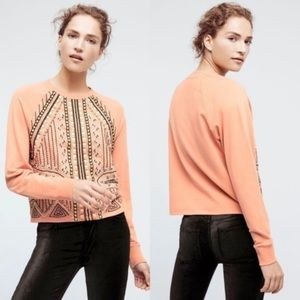 Anthropologie Akemi-+Kin Beaded Rose Sweatshirt